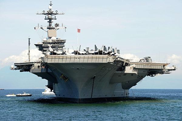 圖為卡爾文森號航空母艦2011年5月15日停靠在菲律賓馬尼拉港。(法新社)