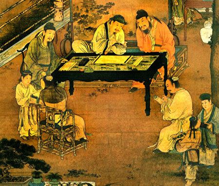 《十八學士圖》局部,南宋佚名畫作。(公有領域)