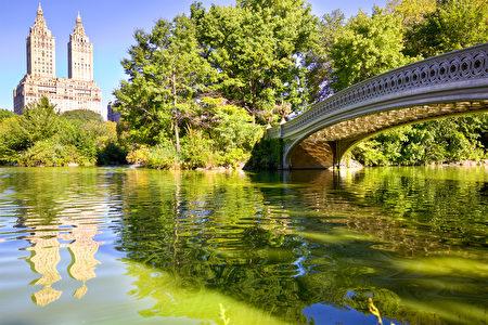 紐約有弓橋樑和湖的中央公園(fotolia)