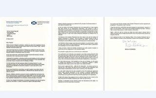 苏格兰首席大臣施特金致函(图)英国首相梅伊,要求让苏格兰举行第2次独立公投。(HO/Scottish Government/AFP)