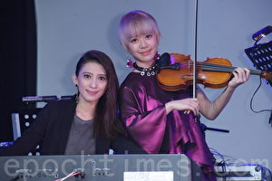 郭修彧于2017年4月1日在台北 Legacy 举行《抽象图》抽象音乐会彩排。戴佩妮为之站台。(黄宗茂/大纪元)