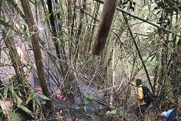 清明连假的扫墓,造成林务局屏东林区管理处辖区高屏区多处发生森林火灾,到5日还有林班地在闷烧,林管处动员约100人次救火员及直升机7架次灭火,林班地延烧了0.8公顷。(屏东林管处提供)