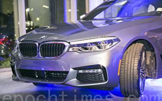 BMW全新5系列的头灯及雾灯全面更新,摄自旧金山东湾宝马车行(East Bay BMW)的新5系列预览晚会。(曹景哲/大纪元)