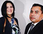一家保險事務所的老闆Lisa Trevino 女士和 Hector Gracia 先生神韻演出讚不絕口。(林南宇/大紀元)