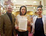 二零一七年四月七日,维也纳市议会全票通过了发对中国非法器官交易的议案。图中是该决议案发起人Gudrun Kugler 。(明慧网)