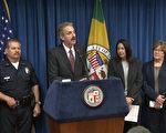 洛市检察长福伊尔(Mike Fueur)4月19日表示,当局开始对部分帮派据点实施新一轮打击。(李子文/大纪元)
