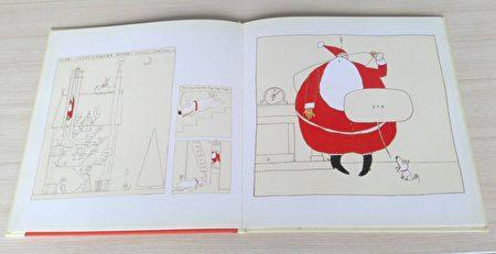 无字绘本《平安夜》,山迪.特纳(Sandy Turner)作品。山迪.特纳对构图的掌握、色彩使用的创意(用米黄色作为主色), 以及幽默的情节(书中对白全是狗叫声)令人赞赏。是具有单纯趣味的图画书。(李梅翻摄/大纪元)