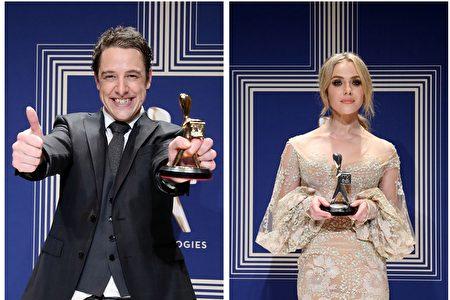 Samuel Johnson获最佳男演员(左)。Jessica Marais获最佳女演员(右)。(Scott Barbour/Getty Images)