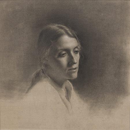 阿马亚‧格尔派德(Amaya Gurpide),《遐想》(Reverie),2016,白色粉笔,黑色conte粉笔,纸上水粉,17×17英寸。(Courtesy of Amaya Gurpiede)