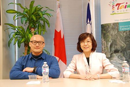 台灣導演陳志漢(左)和駐多倫多台北經濟文化辦事處處徐詠梅。(伊鈴/大紀元)