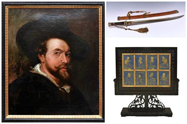Eden Fine Antiques Gallery 将于四月中旬举行八百多件中西名品拍卖,其中包括为鉴定为鲁本斯真迹的自画像和乾隆御用佩刀。(Spencer Platt/Getty Images)