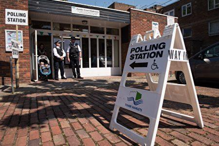 英国2015年大选的一处投票站。(LEON NEAL/AFP/Getty Images)