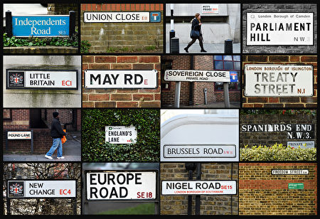 """In this photo illustration, shows road signs around central London that have names associated with the Brexit Process. British Prime Minister Theresa May has called for a """"more united"""" Britain as she prepares to trigger Article 50 to take Britain out of the EU, while also facing fresh calls for a second Scottish Independence referendum.  (Photo by Leon Neal and Carl Court/Getty Images)"""