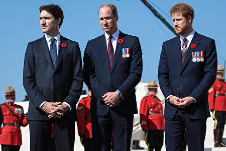 VIMY, FRANCE - APRIL 09: (L-R) Canadian Prime Minister Justin Trudeau; Prince William, Duke of Cambridge and Prince Harry arrive at the Canadian National Vimy Memorial on April 9, 2017 in Vimy, France. The Prince of Wales, The Duke of Cambridge and Prince Harry along with Canadian Prime Minister Justin Trudeau and French President Francois Hollande attend the centenary commemorative service at the Canadian National Vimy Memorial. The Battle Of Vimy Ridge was fought during WW1 as part of the initial phase of the Battle of Arras. Although British-led it was mostly fought by the Canadian Corps. (Photo by Jack Taylor/Getty Images)