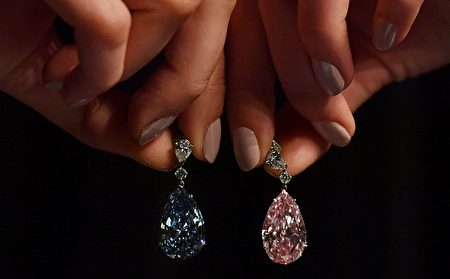 A model poses with a pair of diamond earrings, the 14.54 carat 'Apollo Blue' (L) and the 16 carat 'Artemis Pink', during a photocall at Sotheby's auction house in London on April 10, 2017, ahead of their auction in Geneva on May 16. The earrings will be offered during the separately as individual lots, with the 'The Apollo Blue' expected to realise 31-40 million GBP (36-47 million euros, 3850 million USD), and 'The Artemis Pink' is expected to realise 10-15 million GBP (12-17 million euros, 12.5-18 million USD). / AFP PHOTO / BEN STANSALL (Photo credit should read BEN STANSALL/AFP/Getty Images)