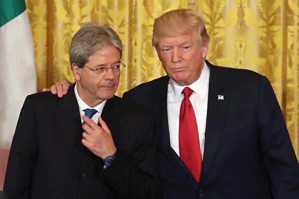 """川普周四在跟意大利总理真蒂洛尼举行新闻发布会的时候谈及刚刚发生的巴黎恐袭说:""""它根本停不下来。""""  (Mark Wilson/Getty Images)"""