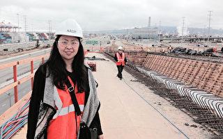 旧金山桥梁结构女工程任颖,在施工工地现场。(本人提供)