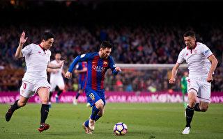在8分钟里,梅西(中)制造了巴萨本场比赛全部三粒进球。(Alex Caparros/Getty Images)