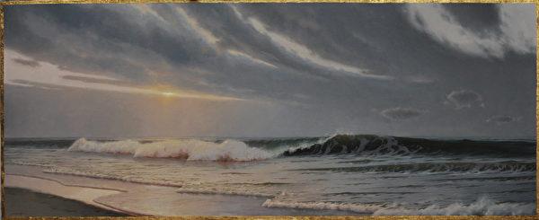 爱德华‧米诺夫(Edward Minoff)。《海景》(Lyudmer Seascape),2015年,布面油画,24×60英寸。(Courtesy of Edward Minoff)