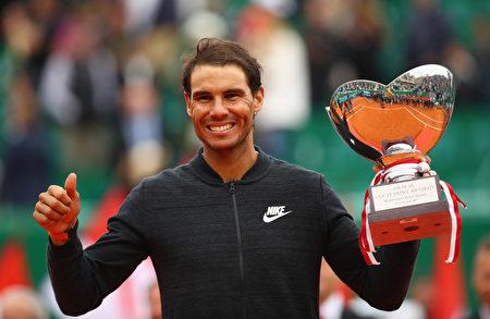 紅土之王納達爾第十次在ATP蒙特卡洛大師賽比賽中奪冠。(Clive Brunskill/Getty Images)