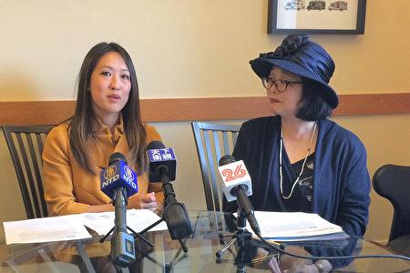 4月26日,舊金山市議員湯凱蒂(左)和聯合學區委員江美利宣布了這項暑期強化幾何課程計畫。(林驍然/大紀元)