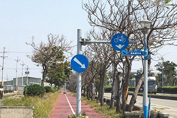 有民眾反映清水區臨海路自行車道問題超多,包括白天樹木稀疏、沒有遮陰休息處等等。(楊典忠議員服務處提供)