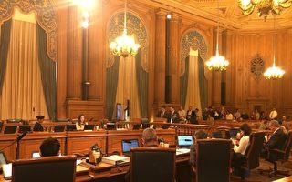 在舊金山市議會,天國樂團4名成員發言呼籲阻止外國集權主義政權涉入美國社區事務。(周鳳臨/大紀元)