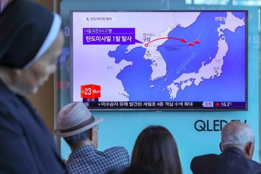 朝鲜5月14日發射彈道導彈,顯然試圖測試韓國新任總統和美國的反應。韓美兩者都曾表示有意談判,以緩解數月的緊張局勢。(AFP PHOTO / YONHAP / str)