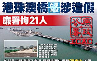 耗资逾千亿兴建的港珠澳大桥香港段工程一波三折,近日再爆出造假丑闻。廉政公署昨日证实已经拘捕21人。(大纪元合成图)