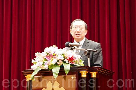 經濟部國貿局副局長徐大衛在論壇上致詞。(郭曜榮/大紀元)
