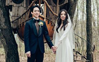 林宥嘉(左)与丁文琪在婚礼派对上接受众人祝福。(华研国际音乐提供)