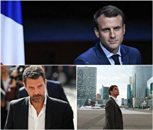 电影《巴黎交易员》改编真人真事题材,曾让法国新总统马克宏头大。图上为法国新总统马克宏,下图为(左起)弊案交易员凯维埃尔与电影剧照。(海鹏/大纪元提供)
