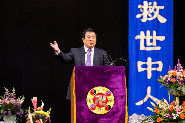 2017年5月14日逾万名法轮功学员在纽约举行心得交流会,李洪志先生莅临讲法。(戴兵/大纪元)
