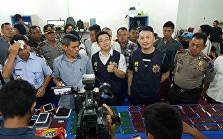 印尼警方和台灣警方聯手,在北蘇門答臘破獲跨國網路詐騙集團,逮捕24名台灣籍嫌犯。(印尼警方提供/中央社)