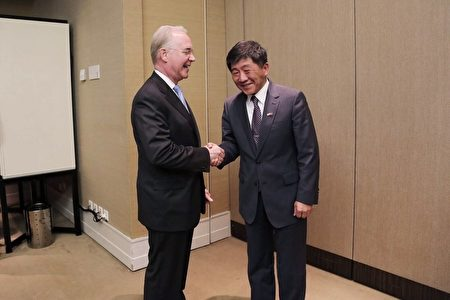 中华民国卫福部长陈时中证实,他与美国卫生部长普莱斯(Tom Price)5月21日已进行双边会谈,美国表示支持台湾参与世界卫生大会。(卫福部提供/中央社)
