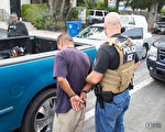 在最近一次移民执法局(ICE)大规模逮捕非法移民行动中,洛杉矶有近200人被捕,其中没有中国籍人士。(ICE提供)
