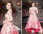 爱纱5月23日在台北出席活动,以一身粉桃色婚纱亮相。(陈柏州/大纪元)