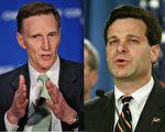 川普週二(5月30日)下午在白宮會見兩名FBI局長人選:前FBI副局長皮斯托爾(John Pistole,圖左)和前司法部助理總檢察長雷(Christopher Wray,圖右)。(大紀元合成圖,Photo by MANDEL NGAN/AFP/Getty Images and Mark Wilson/Getty Images)