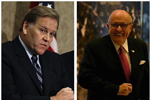前众议院情报委员会主席罗杰斯(Mike Rogers)和前纽约市长朱利安尼(Rudy Giuliani)。(Getty Images/大纪元合成图)