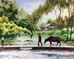 赵小宝的作品:春水归牧。(赵小宝提供)