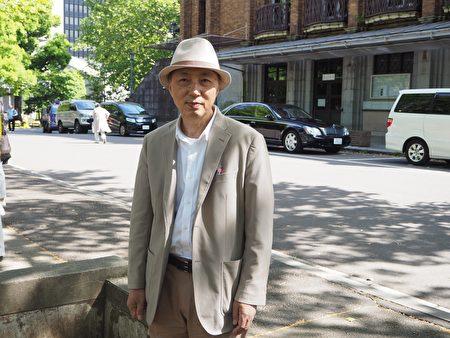 修煉近15年的日本人學員菅原勝行是東京一個煉功點的負責人,他說這麼多年見證大法在很多日本人身上的神奇,數不勝數。(廣田寬光/大紀元)