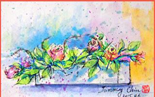 淡彩速写 / 粉紫玫瑰(图片来源:作者 邱荣蓉 提供)