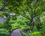 傑斐遜市場花園草木扶疏,分外幽靜。(張靜怡/大紀元)