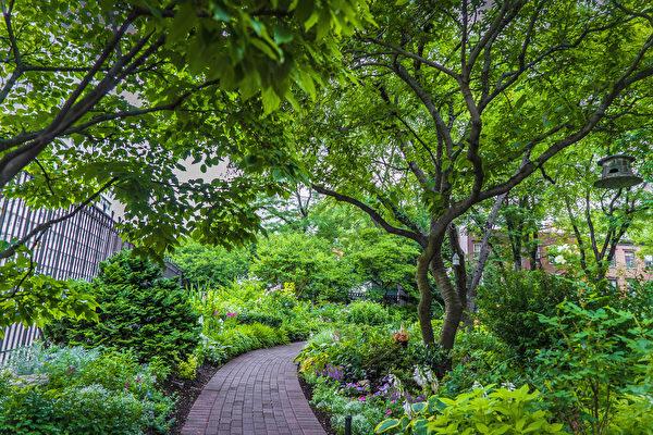 杰斐逊市场花园草木扶疏,分外幽静。(张静怡/大纪元)