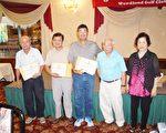 图:(左起)净杆数获奖者Jack Chang, William Lu, Bruce Hsu 与许胜弘院长、陈美芬董事长合影。(易永琦/大纪元)