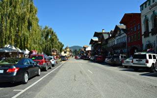 華盛頓州著名景點德國小鎮Leavenworth附近的168戶人家受到山火的影響,進行了緊急撤離。圖為Leavenworth德國小鎮。(舜華/大紀元)