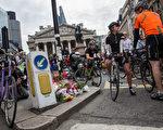 陶颖死于车祸后两天,伦敦自行车团体在英格兰银行附近的路口举行了大规模的抗议活动。 (Rob Stothard/Getty Images)