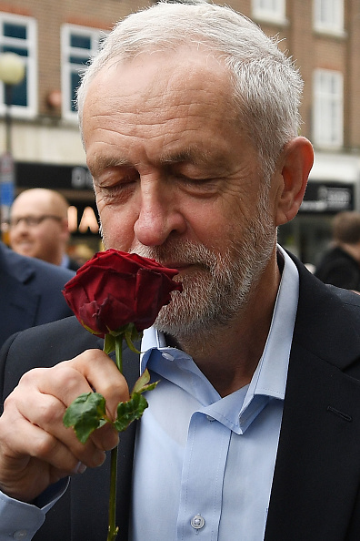 BEDFORD, ENGLAND - MAY 03: Labour leader Jeremy Corbyn attends a Labour Party general election campaign event on May 3, 2017 in Bedford, England. The Prime Minister visited HM The Queen today at Buckingham Palace to ask for the dissolution of Parliament signalling the official start to the General Election Campaign. Voters will go to the polls across the UK on June 8th. (Photo by Leon Neal/Getty Images)