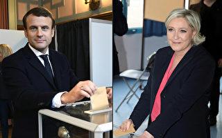 週日(5月7日),法國總統大選進行第二輪投票。馬克龍(左)和勒龐(右)將一決勝負。圖為兩人分別投票。(ERIC FEFERBERG,JOEL SAGET/AFP/Getty Images)