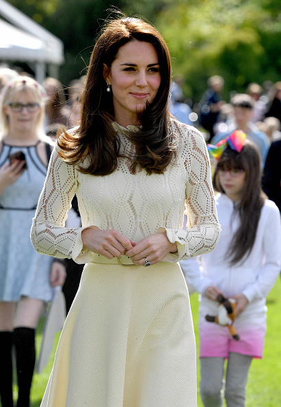 LONDON, UNITED KINGDOM - MAY 13: Catherine, Duchess of Cambridge is seen as they host a tea party in the grounds of Buckingham Palace to honour the children of those who have died serving in the armed forces on May 13, 2017 in London, England. (Photo by Andrew Parsons - WPA Pool/Getty Images)